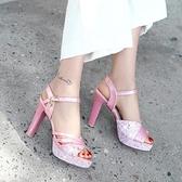 2019夏季新款高跟涼鞋歐美時尚粗跟防水台搭扣女鞋百搭魚嘴工作鞋