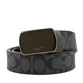 美國正品 COACH 男款 緹花LOGO雙面用方型鐵灰釦頭寬版皮帶-黑色【現貨】
