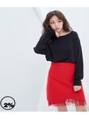 【2%】2%下擺不收邊造型紗裙-紅