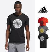 【GT】Adidas 黑灰紅 短袖T恤 籃球 運動 休閒 棉質 印花 圖騰 排汗 上衣 短T 愛迪達 基本款