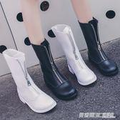 英倫風馬丁靴女新款秋季復古guidi短靴前拉錬倒靴百搭機車靴  英賽爾