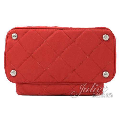 茱麗葉精品【全新現貨】 PRADA 1BZ066 三角LOGO 尼龍帆布雙肩後背包.紅 小款
