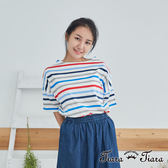 【Tiara Tiara】百貨同步 多彩橫條紋短袖上衣(白/藍)