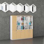 紐登辦公家具大文件柜木質辦公柜帶玻璃書柜儲物資料柜文件柜子