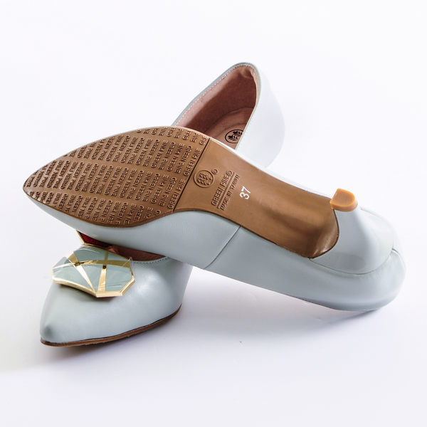 GREEN PINE 氣質扣飾羊皮跟鞋  -藍色