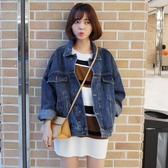 牛仔外套女春秋2019新款韓版寬鬆bf蝙蝠袖學生復古短款牛仔上衣潮