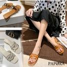 PAPORA時尚百搭休閒拖鞋粗跟鞋涼鞋KK1035 米色 / 棕色