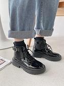 網紅粗跟馬丁靴女2021冬季新款短筒英倫風鞋顯腳小黑色短靴 童趣屋  新品