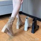 靴子 馬丁靴女英倫風2020新款春秋季單靴方頭粗跟網紅瘦瘦高跟鞋短靴子 新年特惠