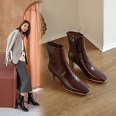 手工真皮女鞋34~40 2020時尚優雅百搭牛皮方頭中高跟瘦瘦靴 短靴子 ~2色