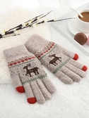 手套 手套女冬天毛線觸屏加厚保暖學生可愛卡通騎車寫字全指手套 全館免運