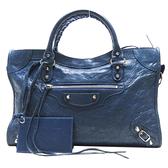 BALENCIAGA 巴黎世家 藍色山羊皮銅釦手提肩背兩用包 【二手名牌BRAND OFF】