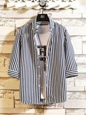 短袖襯衫男春夏韓版潮流條紋七分袖襯衣男裝時尚休閒五分中袖寸衫   圖拉斯3C百貨