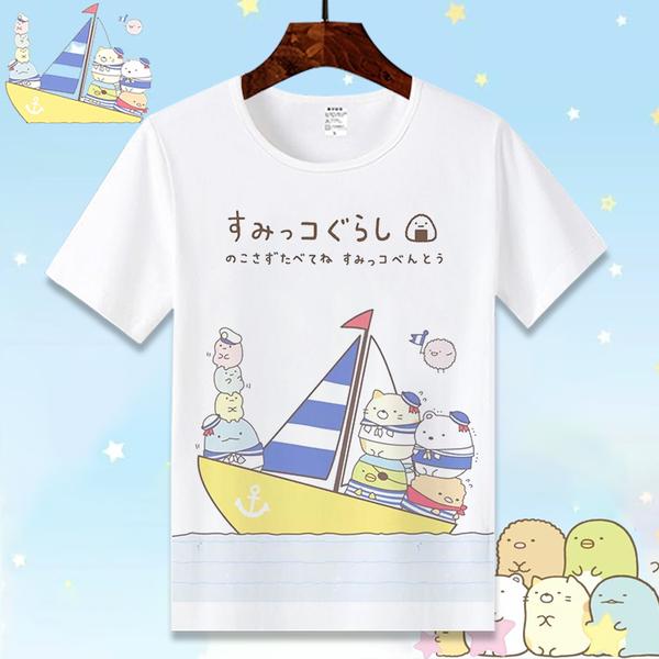 動漫周邊角落生物T恤 可愛白熊企鵝炸豬排二次元短袖男女衣服夏季