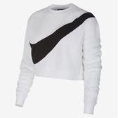 NIKE服飾系列-NSW SWSH CREW FLC BB 女款白色短版毛絨運動衫-NO.BV3934100