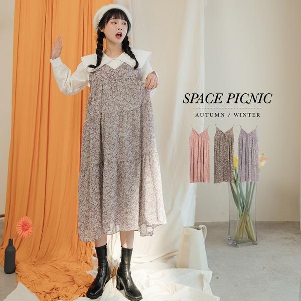 細肩 洋裝 Space Picnic 碎花交叉V領細肩帶雪紡洋裝(現貨)【C20125022】