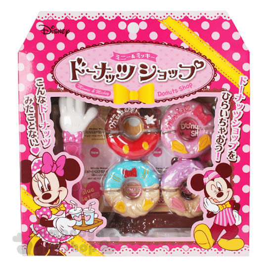 〔小禮堂〕迪士尼 米奇米妮 甜甜圈店鋪玩具《桃.點點.盒裝》適合3歲以上 4902923-14455