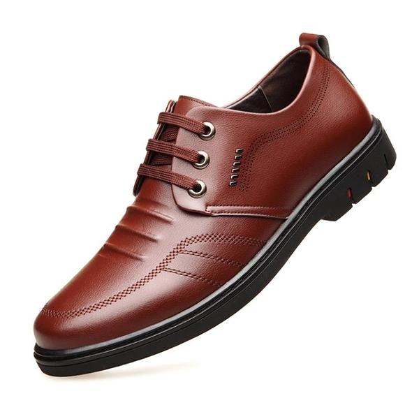 皮鞋 男士皮鞋真皮軟底軟皮夏季透氣休閑鞋子韓版英倫百搭商務正裝男鞋 快速發貨