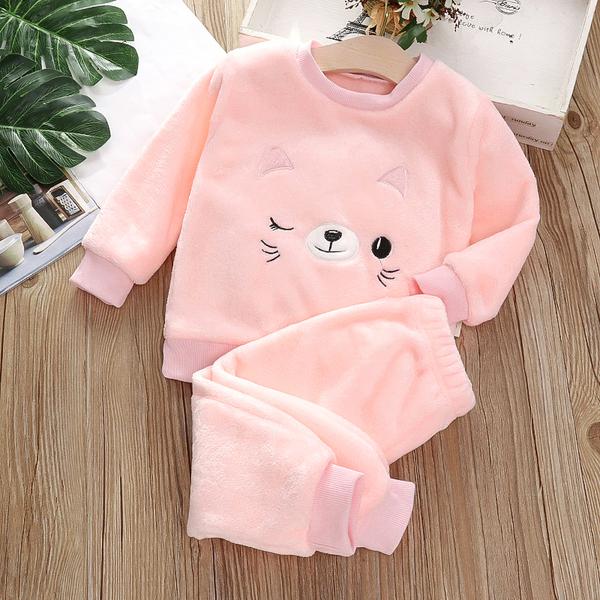 寶寶法蘭絨家居服套裝嬰幼兒童裝小孩睡衣男女童加厚珊瑚絨2021新款兩件套面料柔軟