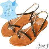 Ann'S 3M水洗牛皮-交錯流線寬版平底涼鞋-咖