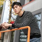 【型男排行榜↘任2件699專區】潮流時尚日系簡約街頭條紋造型百搭長袖T恤