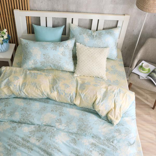 床包被套組 四件式雙人薄被套床包組/昆蒂娜藍/美國棉授權品牌[鴻宇]台灣製2079