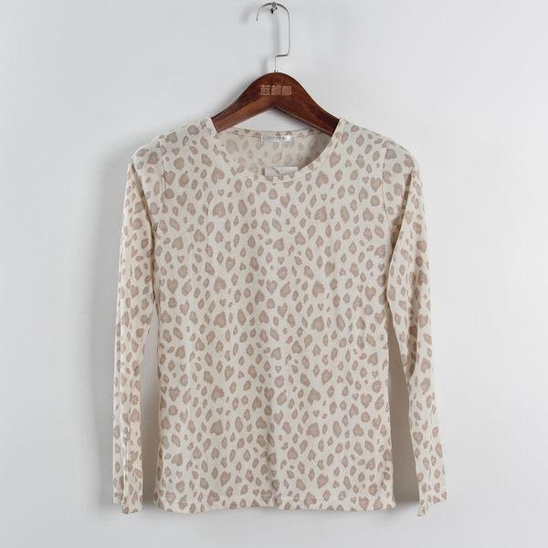 [超豐國際]好春秋裝女裝米色豹紋修身百搭針織衫 散85636(1入)