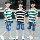 時尚中大童男孩純棉條紋半袖T恤織帶牛仔中褲兩件套男童套裝 qf4987【小美日記】