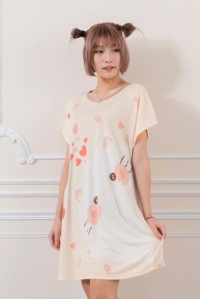 Young Curves 短袖連身睡衣(C01-100712貓咪愛吃魚)