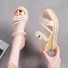 楔形鞋 仙女風坡跟涼鞋女2021年春季新款百搭鬆糕厚底增高兩穿涼拖鞋女潮 韓國時尚 618