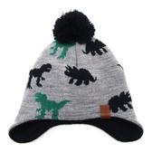 兒童帽子秋冬男童護耳帽舒適溫暖恐龍套頭帽加絨寶寶毛線帽  潮流小鋪