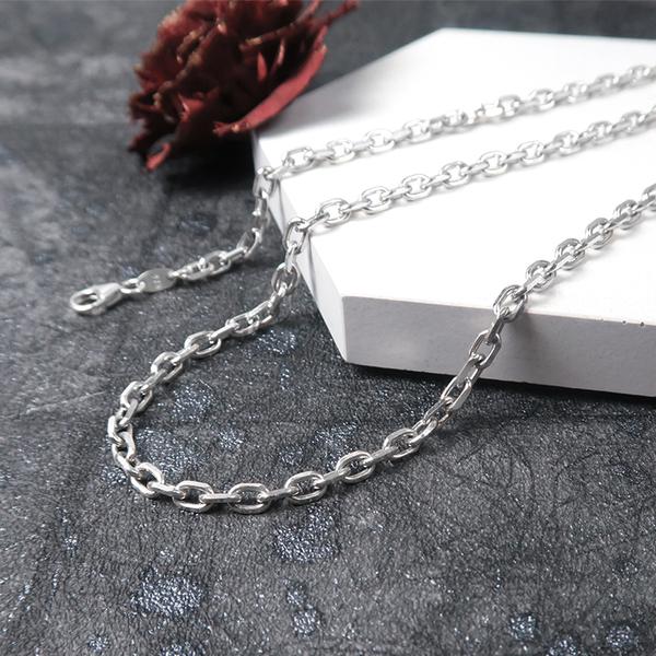 方形稜角鍊(3.5mm寬鍊) 24吋 925純銀項鍊