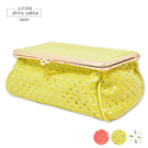 化妝包-日本皮革立體方形化妝包-黃綠色-...
