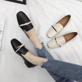 韓版皮面淺口單鞋百搭軟底圓頭女鞋兩穿一腳蹬平底奶奶鞋   蘑菇街小屋