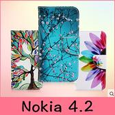 【萌萌噠】諾基亞 Nokia 4.2 (5.71吋) 彩繪系列 卡通小熊蝴蝶保護套 全包防摔 支架插卡側翻皮套
