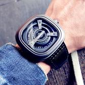 手錶 新概念黑科技時尚潮流手錶男學生個性方形大表盤真皮帶休閒石英表 美物