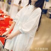 孕婦春裝上衣2020春夏季網紅款寬鬆白色襯衣中長款洋氣孕婦連身裙