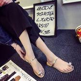 2019新款涼拖鞋夏季韓版平底水鑽夾腳時尚外穿涼鞋女士平跟沙灘鞋『潮流世家』