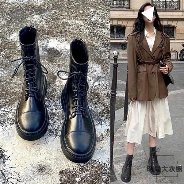 內增高馬丁靴女小個子單靴真皮彈力瘦瘦靴英倫風短靴【時尚大衣櫥】