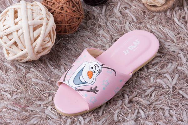 迪士尼冰雪奇緣兒童室內拖鞋(雪寶粉紅色一雙)