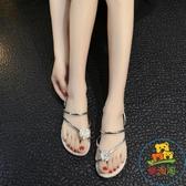 涼拖鞋平底夾腳拖兩穿夾趾花朵涼拖鞋女沙灘鞋子【樂淘淘】