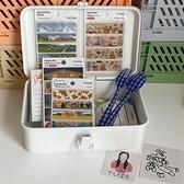 十七不賣書丨ins簡約風白色鐵盒膠帶手賬便簽雜物印章桌面收納盒 青木鋪子「快速出貨」