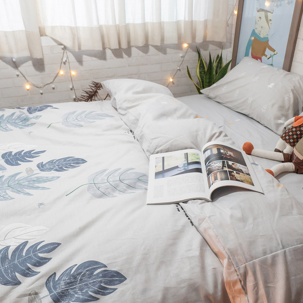 白兔遇見狐狸 K1 KingSize床包三件組 100%復古純棉 極日風 台灣製造 棉床本舖