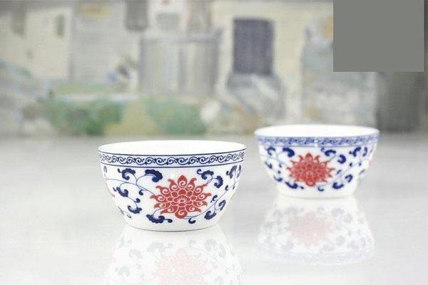 青花瓷茶盞 紅花品茶杯40ml 3個/包