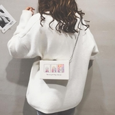 ins超火小包包女2020新款小清新可愛印花小方包潮條單肩斜挎包‧衣雅