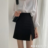 黑色高腰開叉半身裙女2021年春款新款a字短裙西裝包臀裙子設計感 創意家居生活館