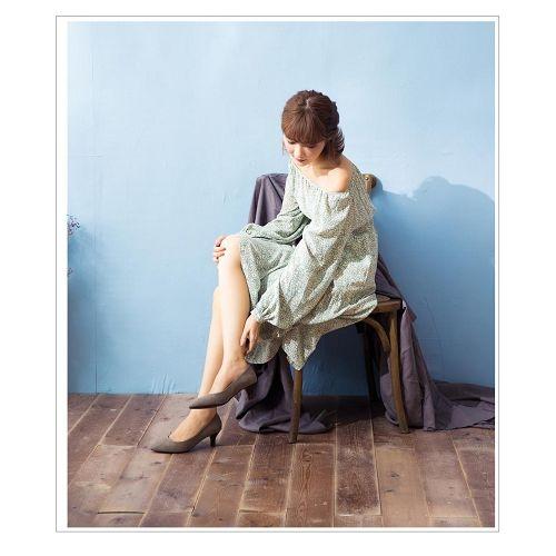 【ORiental TRaffic】極簡絨面尖楦中跟鞋-俐落灰