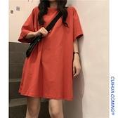 純色短袖女2021年夏季韓版寬鬆半袖上衣ins潮下衣失蹤t恤女中長款