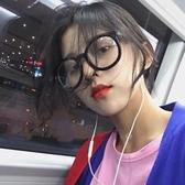 網紅黑框眼鏡女復古GM素顏粗眼鏡框大框平光眼睛眼鏡架 韓國時尚週