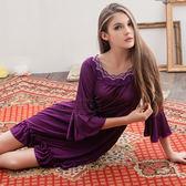 大尺碼睡衣 ~Annabery浪漫深紫七分袖柔緞 緞面睡衣 女性衣著 爆款【SV6172】快樂生活網
